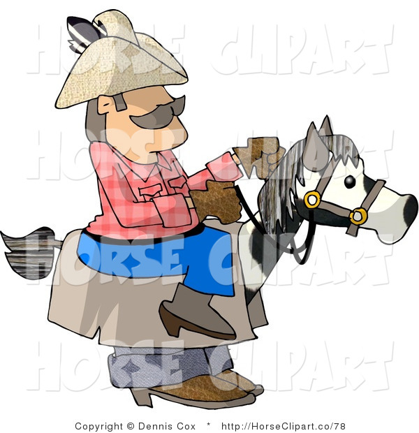 Clip Art of a Cowboy Riding a Stick Horse Halloween Costume