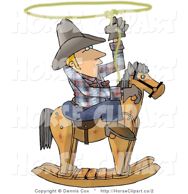 Clip Art of a Cowboy Roping on a Rocking Horse