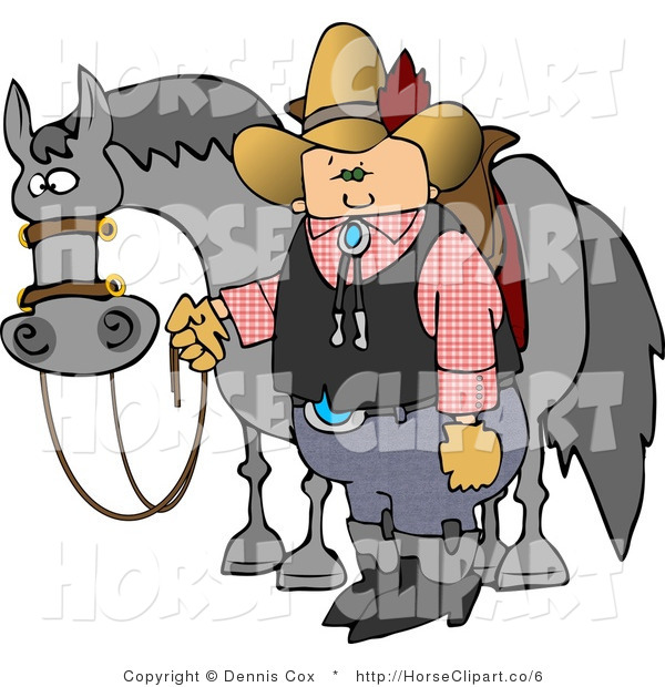 Clip Art of a Cowboy Standing by a Horse