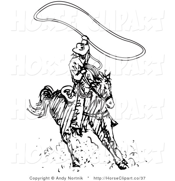 Clip Art of a Cowboy Swinging a Lasso While Riding a Horse on a White Background