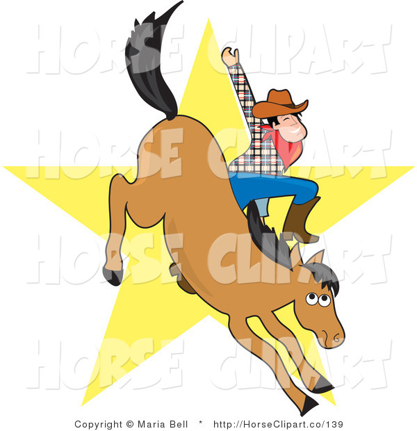 Clip Art of a Cowboy Waving While Riding a Bucking Bronco Horse in a Rodeo, a Yellow Star in the Background