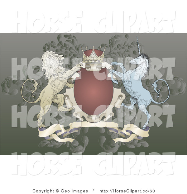 Clip Art of a Crown, Lion, and Blue Unicorn on a Red and Gold Coat of Arms