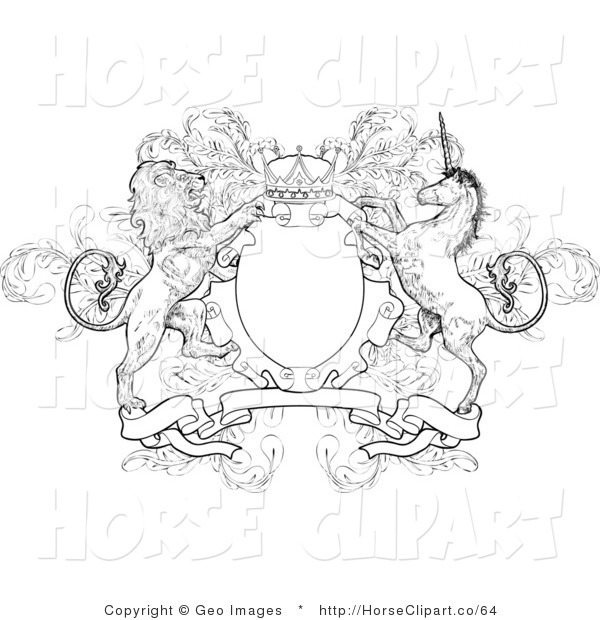 Clip Art of a Crown, Lion, and Unicorn on a Coat of Arms in Black and White