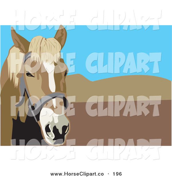 Clip Art of a Curious Brown Bridled Horse with Mountains and Blue Sky in the Background