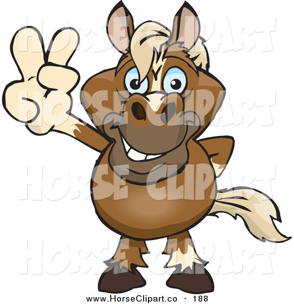 Clip Art of a Cute and Peaceful Horse Smiling and Gesturing the Peace Sign with His Hand