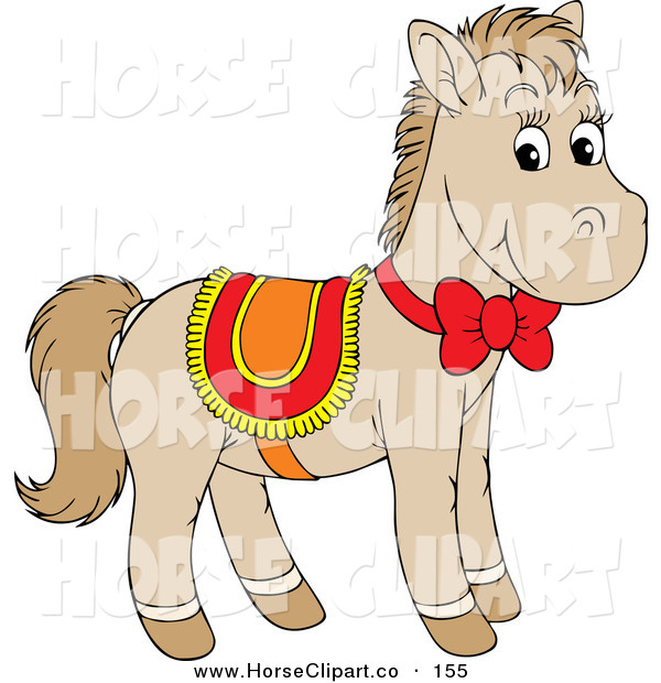 Clip Art of a Cute Beige Pony Horse Wearing a Red, Yellow and Orange Saddle and Bow