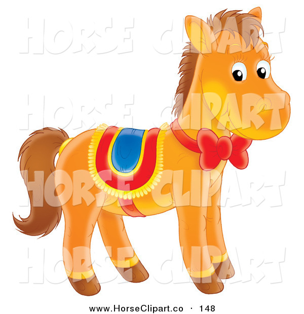 Clip Art of a Cute Brown Pony Horse with a Red Ribbon and Bow on Its Neck, Wearing a Saddle