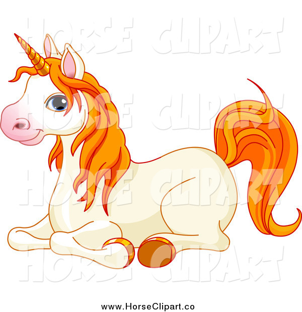 Clip Art of a Cute Cream Unicorn with Orange Hair, Resting
