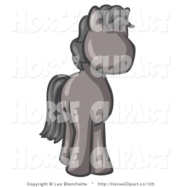 Clip Art of a Cute Gray Pony Horse with Black Hair Looking out at the Viewer
