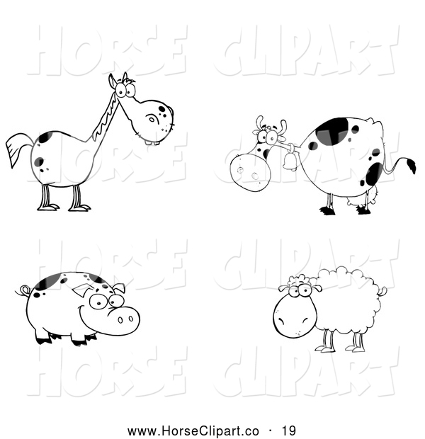 Clip Art of a Cute Group of Farm Animals; Black and White Horse, Cow, Pig and Sheep