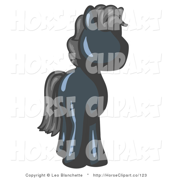 Clip Art of a Cute Navy Blue Pony Horse with Black Hair Looking out at the Viewer