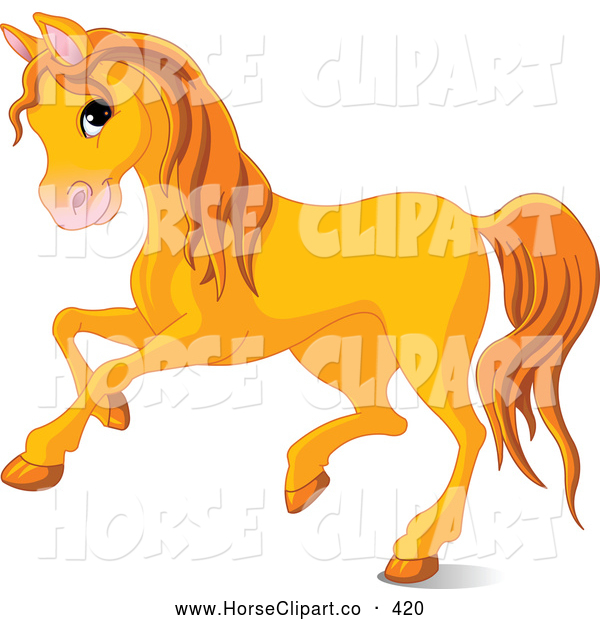 Clip Art of a Cute Orange Horse Running to the Left