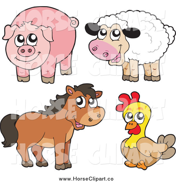 Clip Art of a Cute Sheep, Pig, Brown Horse and Chicken