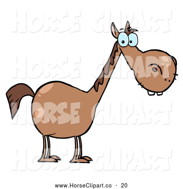 Clip Art of a Cute Short Brown Horse with a Long Neck