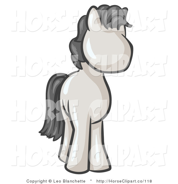 Clip Art of a Cute White Pony Horse Looking out at the Viewer, to the Right