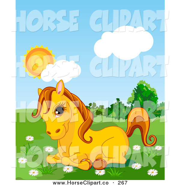 Clip Art of a Cute Yellow Pony Resting in a Daisy Flower Patch in a Lush Green Pasture on a Sunny Day