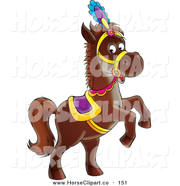 Clip Art of a Dark Brown Horse in a Purple and Gold Saddle, Hat and Reins, Standing up on Its Hind Legs