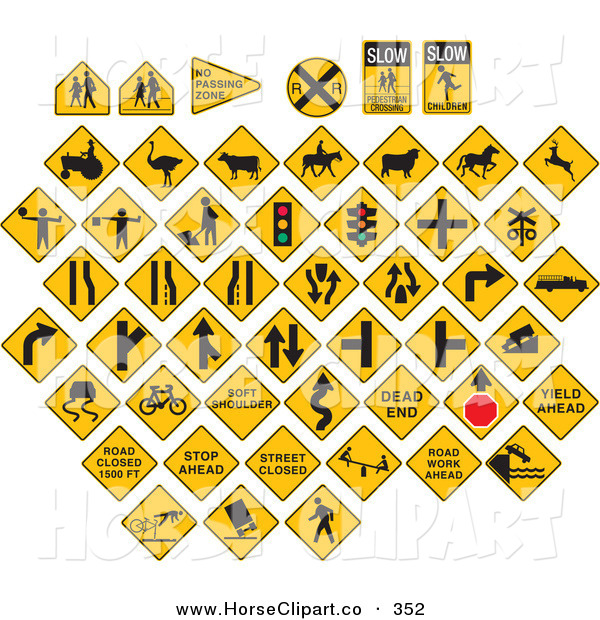 Clip Art of a Digital Collage of Yellow Caution Traffic Road Signs on a White Background