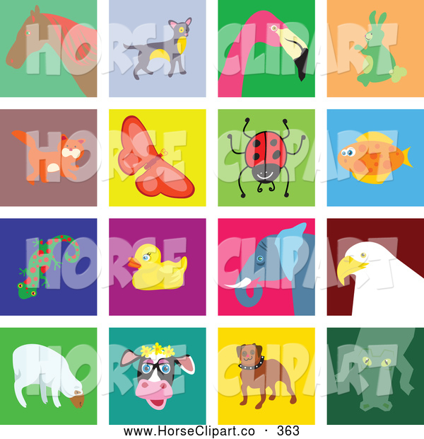 Clip Art of a Digital Set of 16 Colorful Animal Tiles