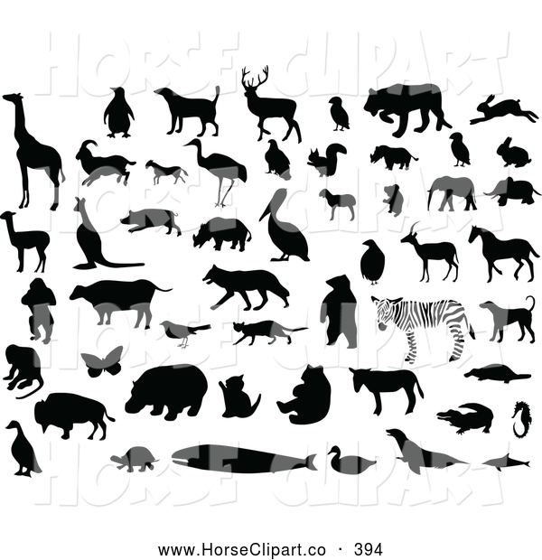 Clip Art of a Digital Set of Silhouetted and Black and White Animals