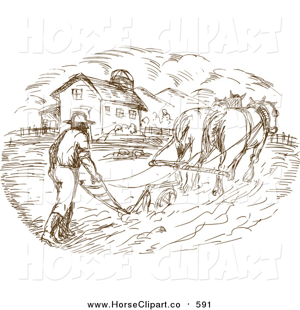 Clip Art of a Farmer and Horse Plowing a Field