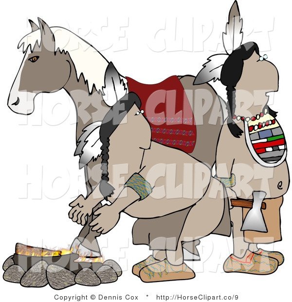 Clip Art of a Fire with Natives and Horse