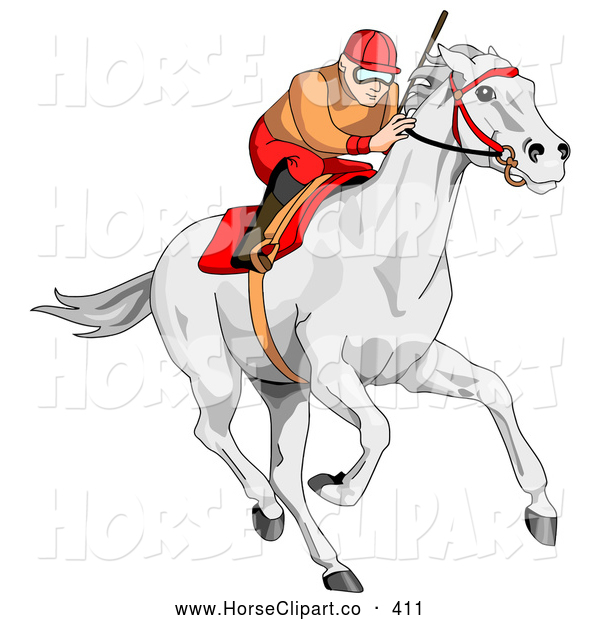 Clip Art of a Focused Jockey Intensely Racing a White Horse
