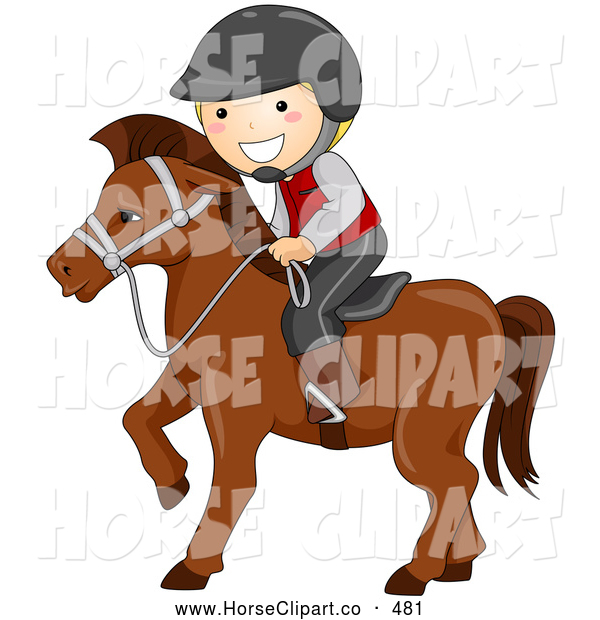 Clip Art of a Friendly Happy Boy Equestrian Riding a Horse