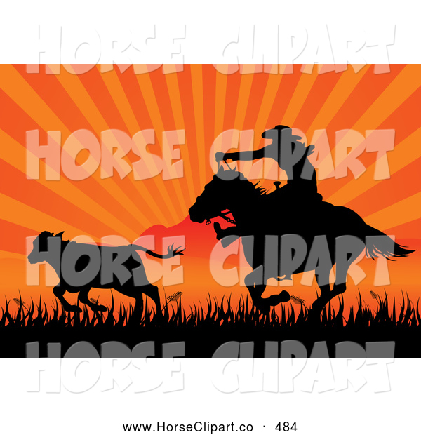 Clip Art of a Friendly Silhouetted Cowboy on Horseback Roping Cattle Against an Orange Sunset