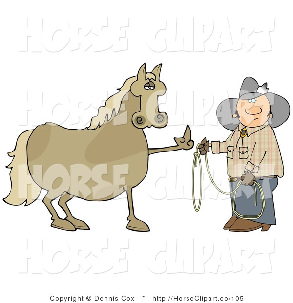 Clip Art of a Fussy and Mad Brown Horse Flipping off a Confused Cowboy Who Is Trying to Put a Lasso Around Him