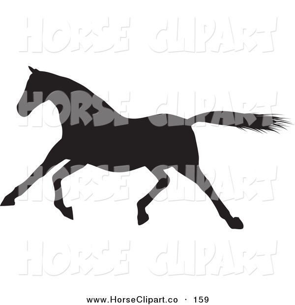 Clip Art of a Galloping Black Silhouetted Horse Trotting Left
