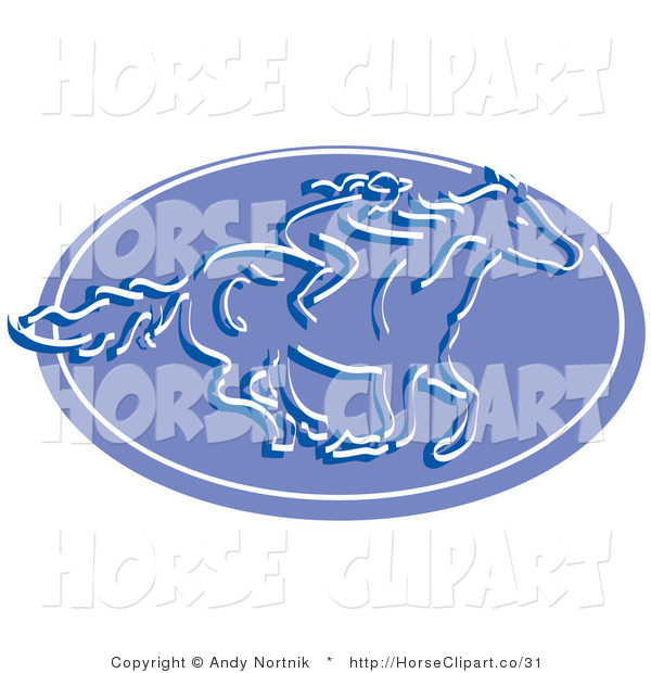 Clip Art of a Girl Riding a Horse on a Blue Oval