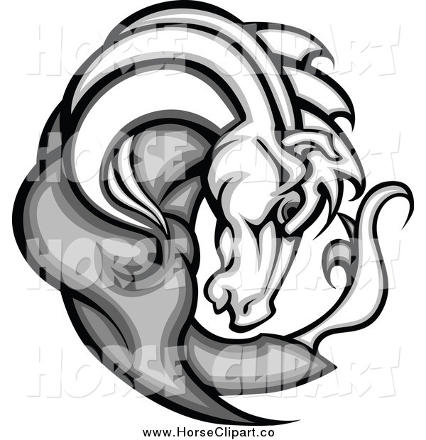 Clip Art of a Gray and White Horse Face