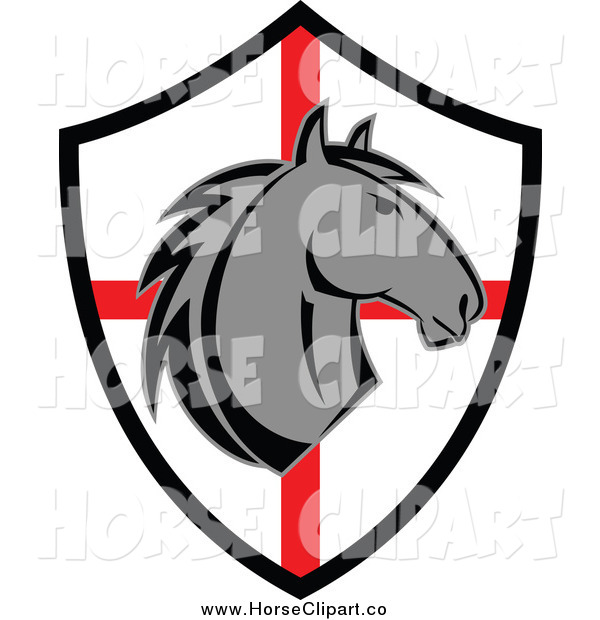 Clip Art of a Gray Horse Head over a Red and White Shield