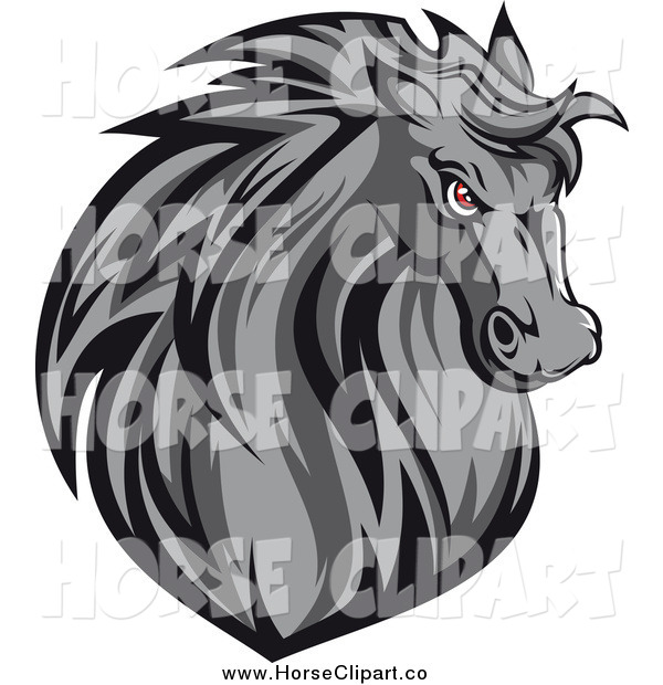 Clip Art of a Gray Horse Head with Red Eyes
