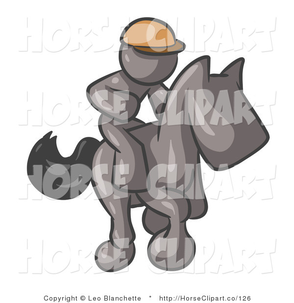 Clip Art of a Gray Man, a Jockey, Riding on a Matching Race Horse and Racing in a Derby