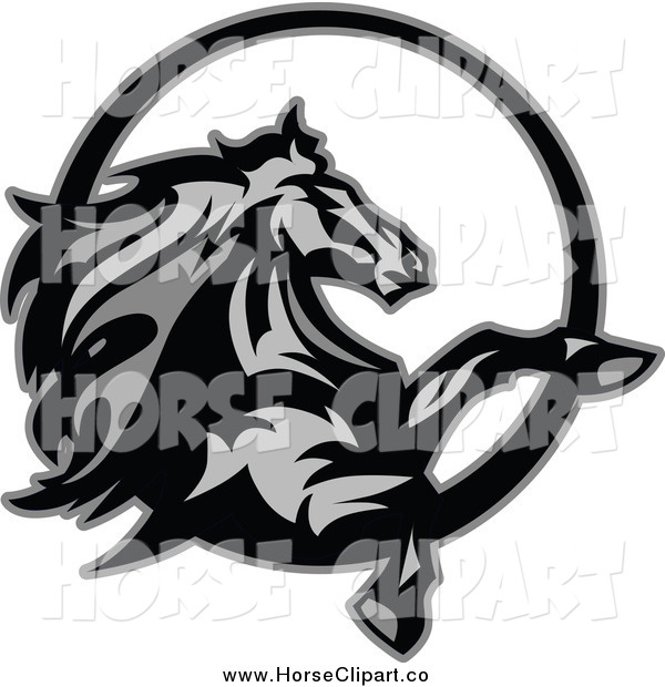 Clip Art of a Grayscale Rearing Horse in a Circle