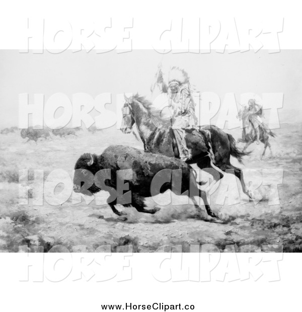 Clip Art of a Grayscale Scene of a Native American Hunting Bison