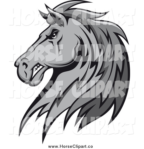 Clip Art of a Grayscale Tough Stallion Head