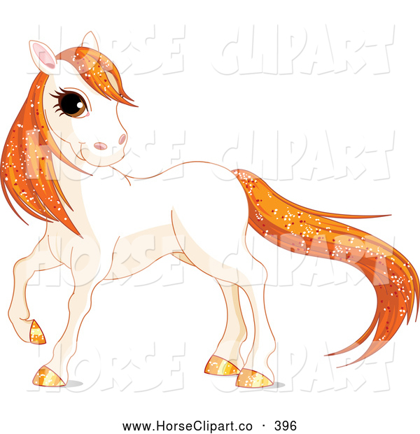 Clip Art of a Grinning Cute White Horse with Golden Hooves and Orange Sparkly Hair