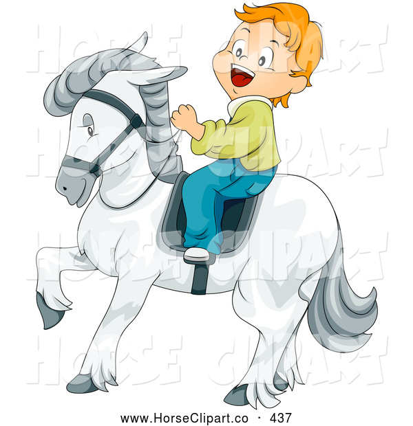 Clip Art of a Grinning Little Boy Riding a Majestic White Horse