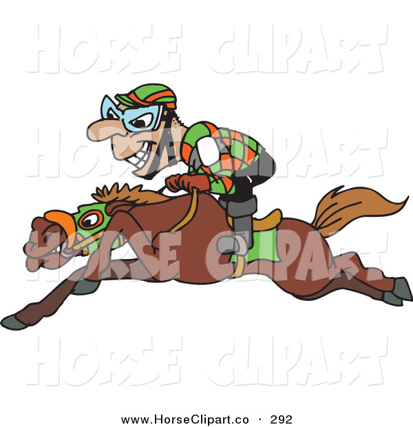 Clip Art of a Grinning Riding Jockey Riding Low on Horseback on White