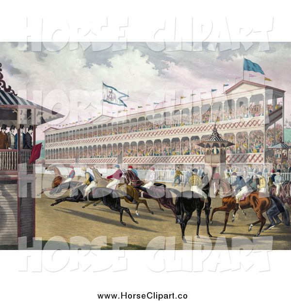 Clip Art of a Group of Jockeys Rushing Away from the Start Line at Jerome Park, New York