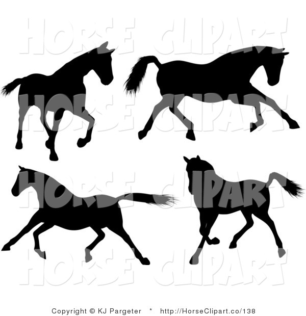 Clip Art of a Group of of Four Silhouetted Horses Walking, Running and Galloping