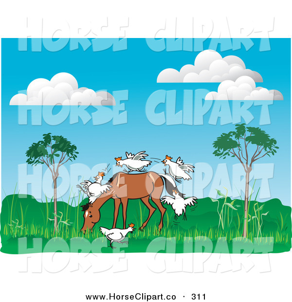 Clip Art of a Group of Playful White Chickens Running up on to a Horse