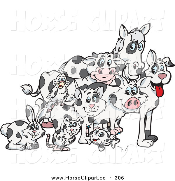 Clip Art of a Group of Rabbit, Mouse, Fish, Cat, Bird, Pig, Dog, Cow and Horse with Matching Cloned Coats