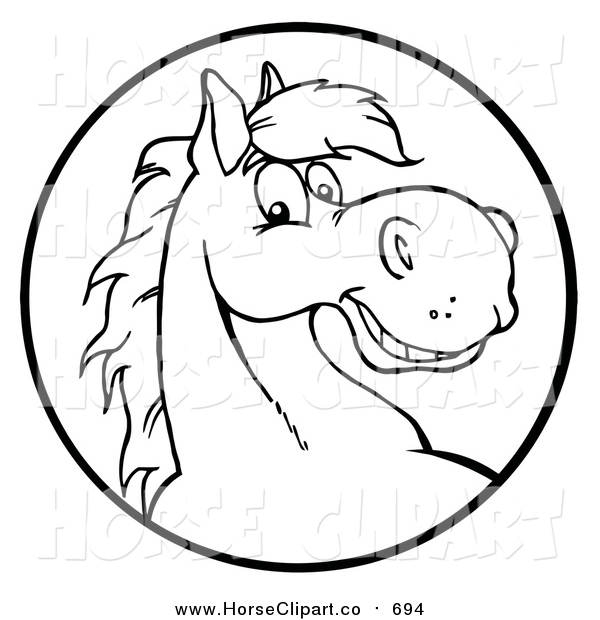 Clip Art of a Happy Black and White Horse Face in a Circle