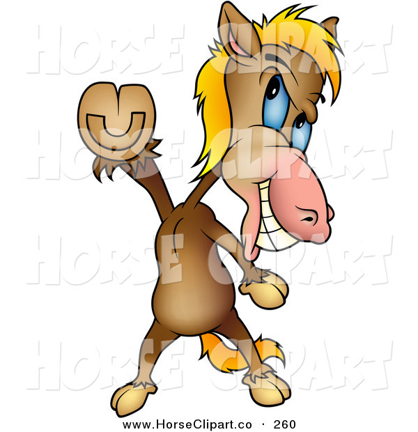 Clip Art of a Happy Brown Horse Doing the Travolta Disco Dance Move