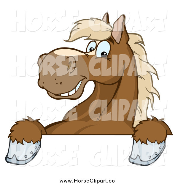 Clip Art of a Happy Brown Horse over a Sign