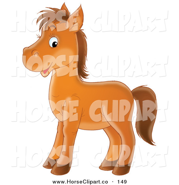 Clip Art of a Happy Brown Pony Horse Facing to the Left and Glancing at the Viewer